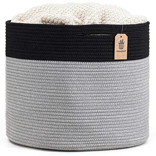 Goodpick Large Cotton Rope Basket 15.8″x15.8″x13.8″-Baby Laundry Basket Woven Blanket Basket Nursery Bin, Black