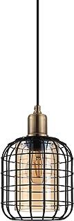 EGLO Suspension Luminaire Chisle, Lustre Chambre Moderne, Plafonnier Salon ou Salle à Manger enMétal Noir et Verre Ambré, ...