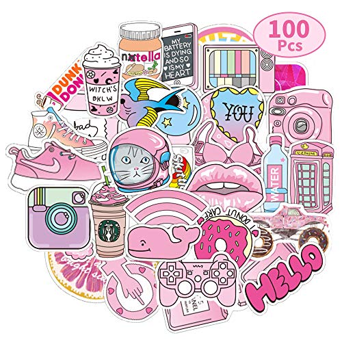Coolba Aufkleber Mädchen Rosa, Sticker Vsco Dekorative Aufkleber für Wasserflaschen,Laptop Sticker,skihelm,Notebook,Koffer Skateboard Phone Coole Bomb Aufkleber Tumblr wasserfeste Sticker(100 Stück)