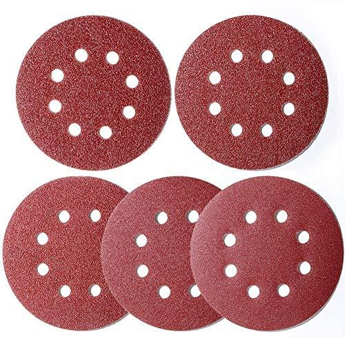100pcs 5 inch Sanding Discs Hook and Loop, (8 Hole Orbital Sander Sandpaper, 20 x 40/60/80/120/180 Grit Orbital Sander Pads), Round Sandpaper Discs by AniSqui