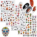 Halloween Nail Stickers Sugar Skull Spider Pumpkin Nail Art Stickers 3D Decal Self-Adhesive Stickers for Salon Manicure Nails Decoration 5 Sheets