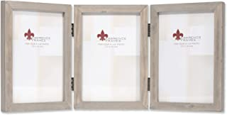 Lawrence Frames 4x6 Hinged Triple Gray Wood Gallery Collection Picture Frame, 4x6T