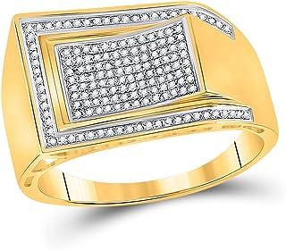 FB جواهر الذهب الأصفر 10kt رجل جولة الماس المقوس مستطيل العنقودية الدائري 1/3 Cttw