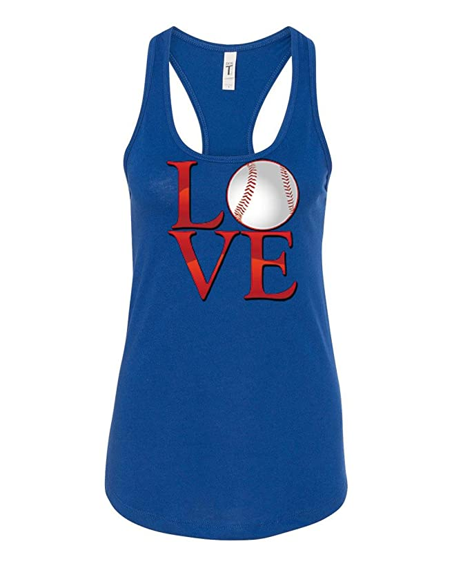 Love Baseball Mom Sport Game Jesery Womens Graphic Tees Racerback Tank