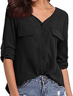 Makulas Button Down Sweatshirt for Women Solid Color V Neck Pullover Long Sleeve Tunics Casual Loose Blouse Fashion T-Shirt