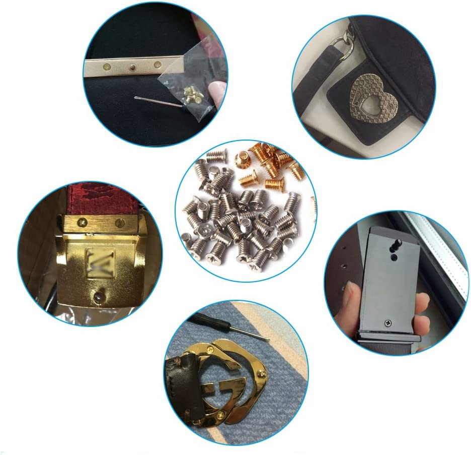 Gold Countersunk Flat Head Phillips Recess Screws Leather Accessories for Belt Buckle Repair Includes Screwdriver 20 Pieces.
