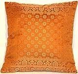 Kashmir Handicrafts Indische Seide Deko Kissenbezüge- 40 cm x 40 cm (Hell Braun), Extravaganten...
