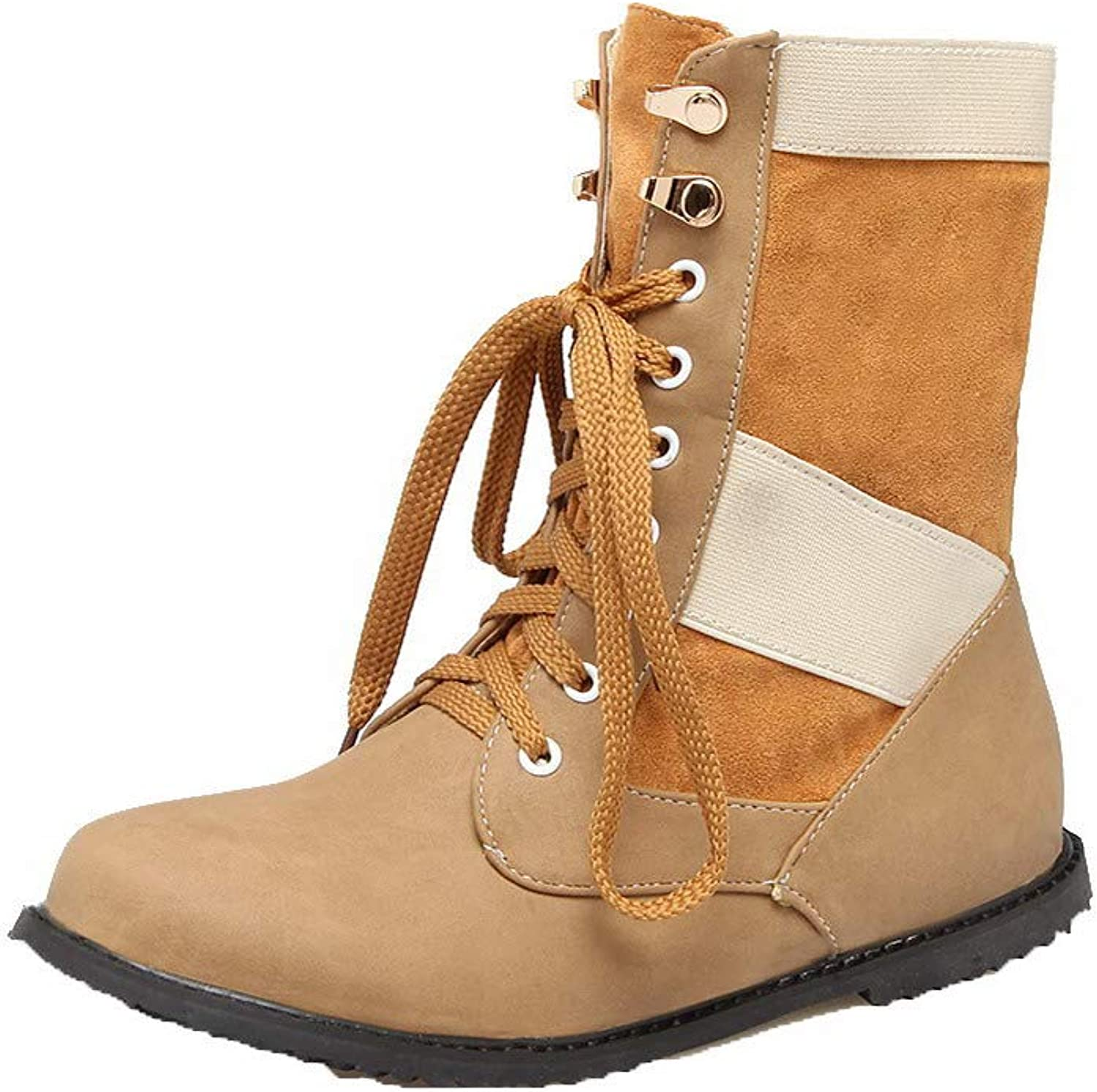 WeenFashion Women's Lace-Up Round-Toe Low-Heels Pu Low-Top Boots, AMGXX117693