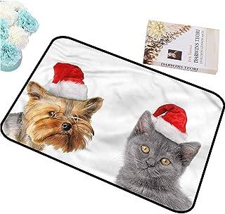 Christmas Mats Indoor Outdoor Non Slip Door Mat Office Door Mat Christmas Cat Dog Xmas Hats for Entryway (59