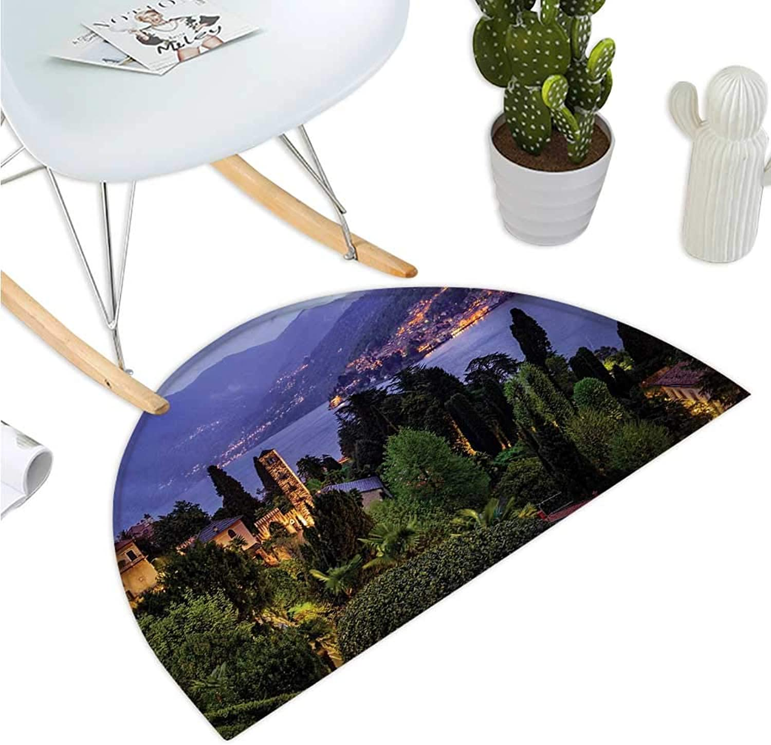 Italian Semicircle Doormat Lago Di Camo Lake Famous Coastal Village with Aerial View Picturesque Panorama Entry Door Mat H 47.2  xD 70.8  bluee Green