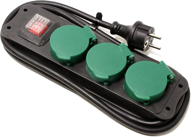 Cablematic - Regleta de enchufes IP44 para exterior 3 schuko 16A 250V con interruptor y cable de 1.5m