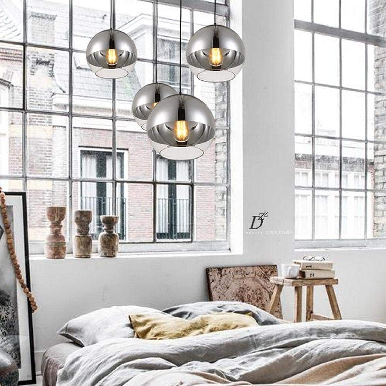 ACZZ Silber runde Schlafzimmer Pendelleuchte, minimalistisch, galvanisiertes Glas, Restaurant, Studie, Korridor
