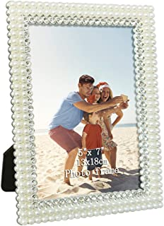 Amazing Roo Metal Picture Frames 5x7 with White Pearl and Crystal for Tabletop Display Poster Photo Frame