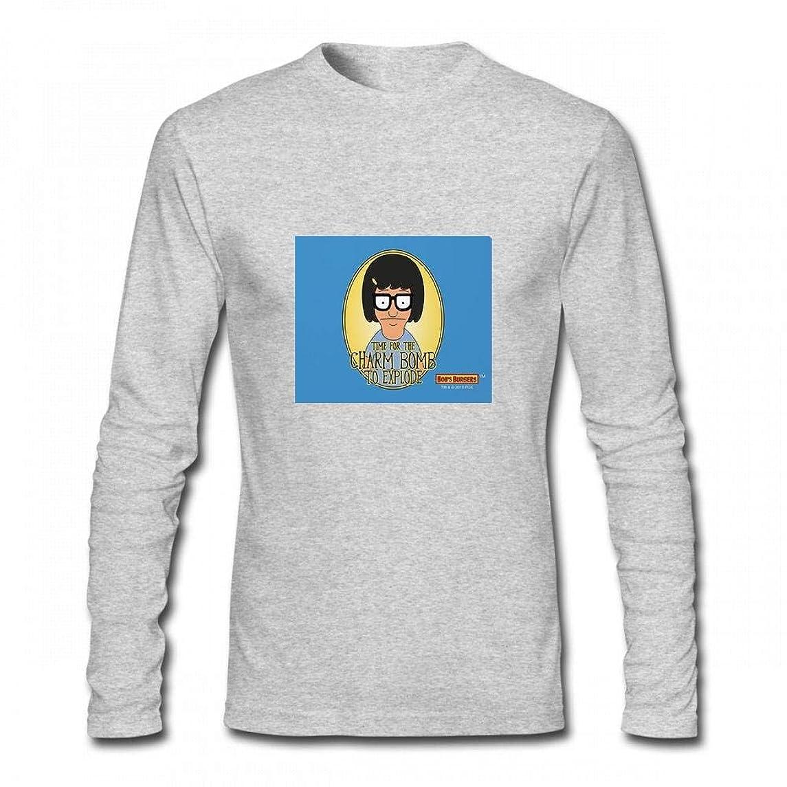 絶滅させる飼いならすスパントップス Bob's Burgersティナチャームボム Men Long Sleeve T-Shirt メンズ Tシャツ