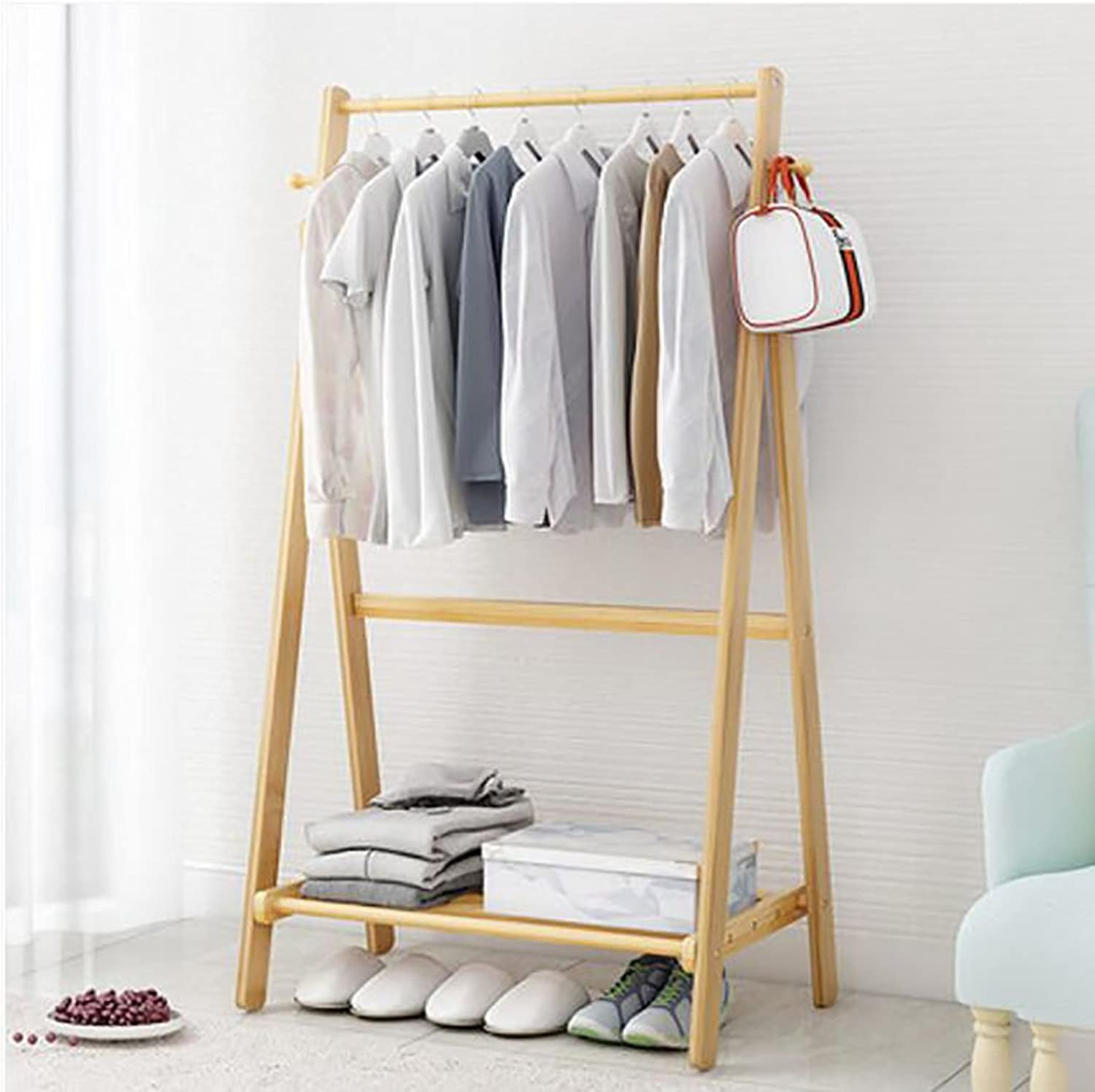 Hanger Floor Bedroom Modern Simple Coat Rack Floor Bamboo Set Rack Mobile Clothes Hanger (color   A, Size   150  60  51cm)