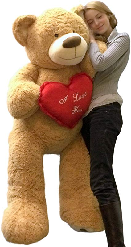 Big Plush I Love You Giant Teddy Bear 5 Foot Soft Tan 60 Inch Holds Heart Pillow