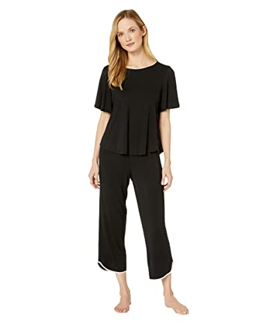 Kate Spade New York Evergreen Modal Jersey Short Sleeve Cropped PJ Set (Black) Women
