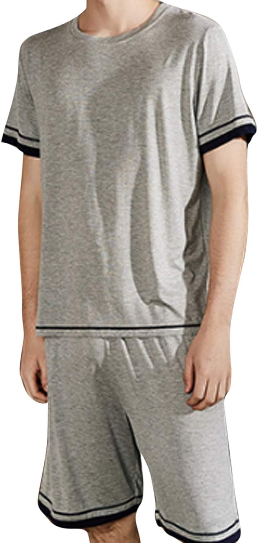 Men'S Pajamas Set Short Sleeve Pajama Sleepwear Gray Xxl