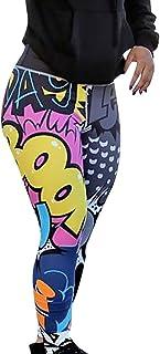 SHOBDW Mujer Pantalones de Yoga Estampado de Entrenamiento Correr Pantalones Capri Gimnasio Colores Flaco Estiramiento Cintura Alta Gimnasio Deportivo Pantalones Deportivos