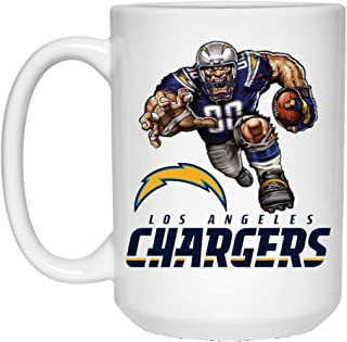 Los Angeles Chargers Coffee Mug Player Mascot 15 oz White Ceramic Coffee Cup Great for Tea and Hot Chocolate NFL AFC Football Perfect Gift for any Chargers Fan