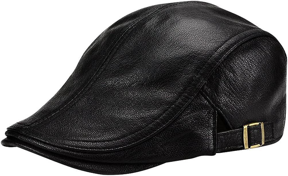 Men Women Lambskin Leather Max 47% OFF Beret Gatsby Cap Newsboy Flat low-pricing Driving