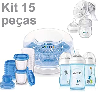 Kit Esterilizador de Mamadeiras + 3 Mamadeiras Pétala Macaco + Tira Leite c/ 10 Copos - Avent