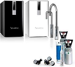 SPRUDELUX® DIAMOND HOT BLACK & WHITE Edition + robinet 3 voies en U pour la cuisine Machine à gazéifier professionnelle po...