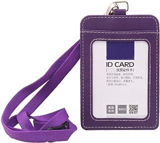 Porte-badge d'identification en cuir PU avec lanière tour de cou et clip de sécurité vertical simple face Violet