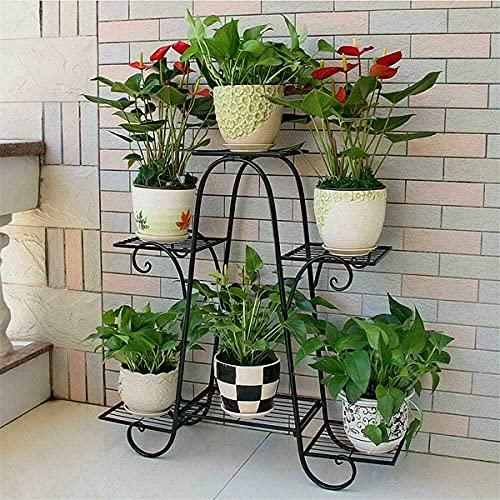 ybaymy Pflanzenregal Metall, Blumenständer Blumentreppe mit 6 Ablagen Pflanzentreppe Pflanzregal Blumenregal für Innen-Balkon Wohzimmer Outdoor Garten, Schwar