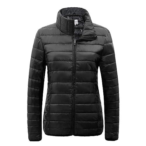 9e1f7f9e01d2 SUNDAY ROSE Packable Puffer Jacket Women Slim Fit Lightweight Quilted Jacket