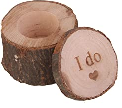 OULII Wooden Ring Box Printed I do Love Heart Shabby Chic Rustic Ring Bearer Box