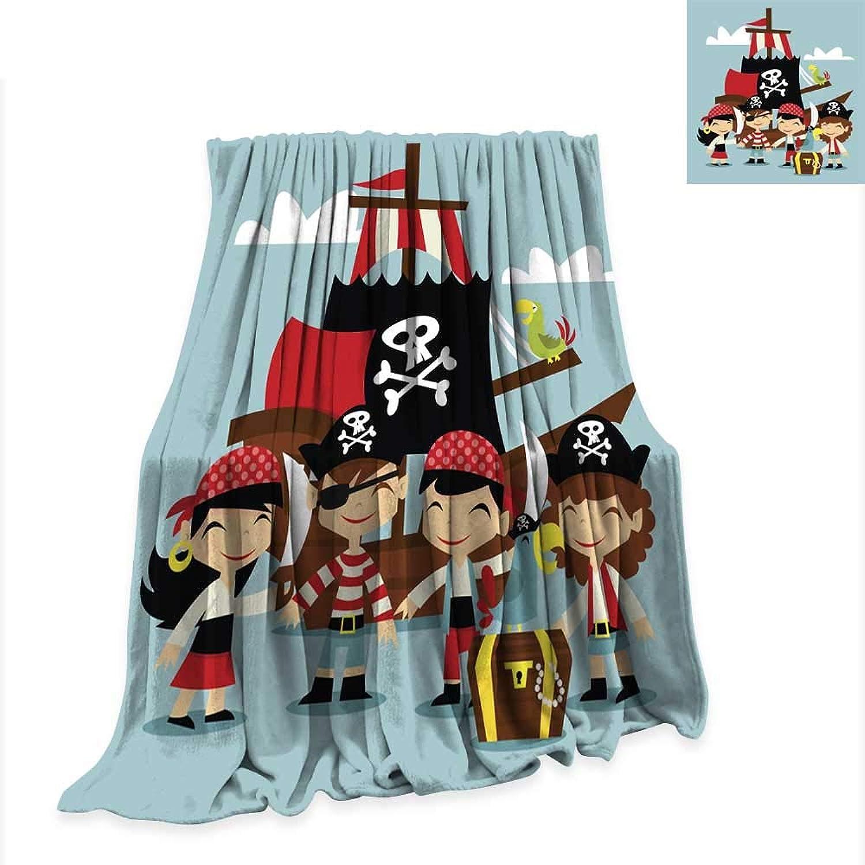 Digital Printing Blanket Retro Pirate Adventure Kids Scene 60 x36