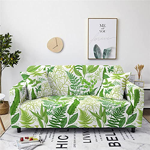 Super Stretch Sofa Covers Couch Covers Sofa Slipcovers for Sofas 1 Seater 3D Printed Green Leaves Non Slip Slipcover Furniture Protector with Spandex Fabric Washable Sofa SetSmall Fresh Style