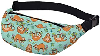 Fashion New Printing Grey Sloth Fanny Pack Male Waterproof Turtle Leaf Green Waist Pack Man Waist Pouch Travel
