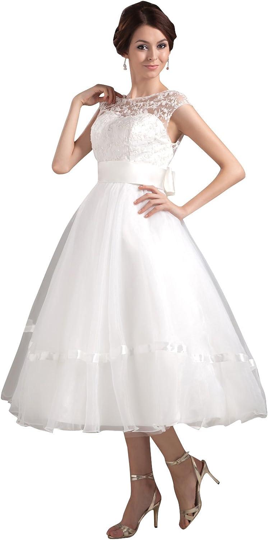 Vampal Ivory Illusion Neckline Tea Length Wedding Dress With Cap Sleeve
