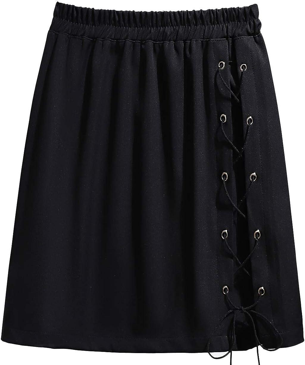 chouyatou Women's Casual Stretched High Waist Slim Criss-Cross Drawstring A-Line Short Skirt