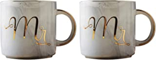 Nrpfell Coffee Mug Set: Mr. and Mrs. Marble Colored Ceramic Mugs, Set of 2, Elegant, Romantic, Durable, Great for Wedding Gift, Valentines, Love, Grey and Grey