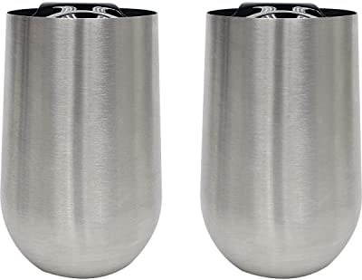 Stainless Steel Stem - Less Wine Glass w/Lid by Wine ChiX Set of 2 Double Walled Insulated Tumbler 16 oz - Shatterproof - brushed finish and black polypropylene lid