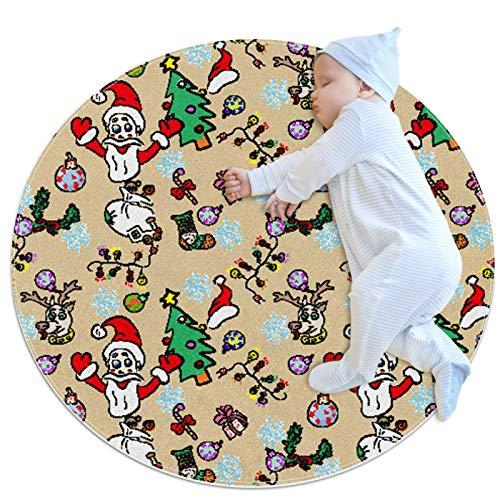 DEDEF Alfombra de juego para niños, redonda, para guardería, juguetes, bolsa de almacenamiento, alfombrilla para gatear, diámetro de Navidad