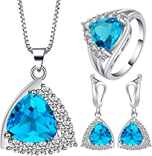 VPbao Plated 925 Sterling Silver CZ Stainless Steel Necklace Earrings Ring Set Blue