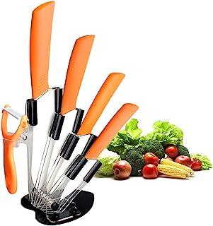 Juego de cuchillos de cerámica, cuchillo de cocina Chef, cuchillo de pan Super Sharp de cinco piezas, cuchillo para pelar frutas vegetales, resistente a la oxidación y a las manchas (naranja)