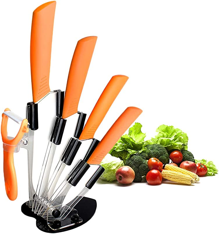 Ceramic Knife Set CREPOW Five Piece Orange 6 Chef Knife 5 Utility Knife 4 Fruit Knife 3 Paring Knife One Peele