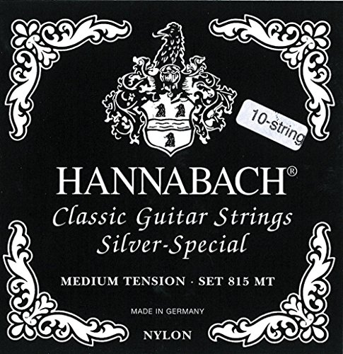 Hannabach 652599 Klassikgitarrensaiten Serie 815 für 8/10 saitige Gitarren / Medium Tension Silver Special - Satz 10-saitig