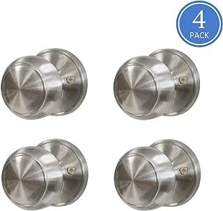 Flat Ball Classic Half Dummy Door Knobs Nickel Finish Interior Door Handles Single Side for Pull or Push Function, Contractor Pack of 4