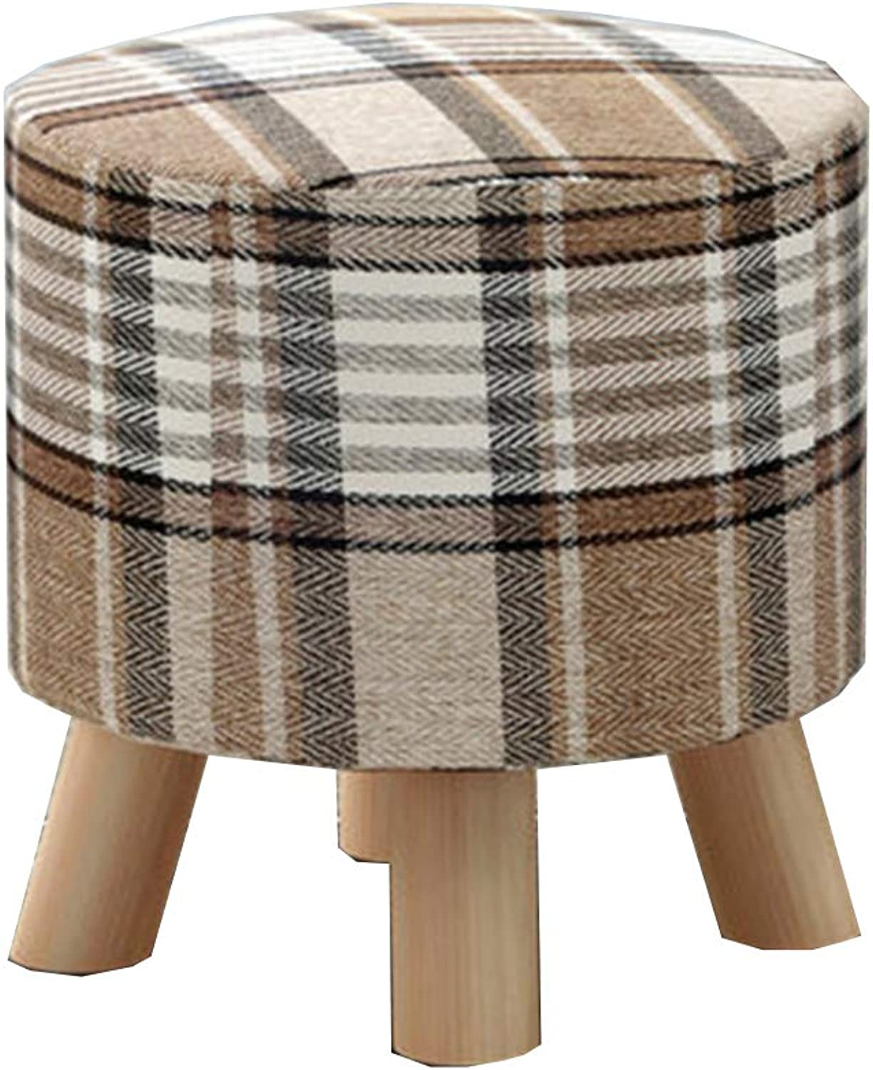 Stool Coffee Table Stool Solid Wood Fabric Stool Cloth Cover Removable Kitchen Bedroom Living Room,E,30  29CM