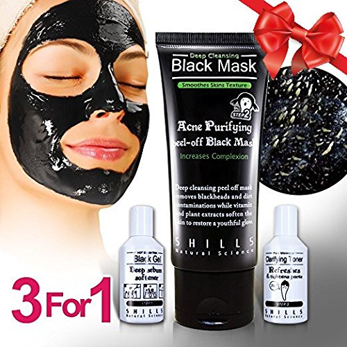 SHILLS Blackhead Remover 3 Step Kit, Black Mask Peel Off, Purifying Charcoal Sebum Softener, Pore Minimizing Toner, Peel Strip Mask, Acne Black Mud Facial Masks (Kit)