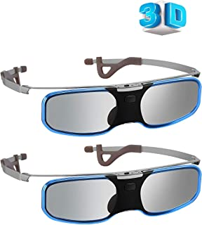 Elikliv RX-60S 3D Glasses 2PACK Rechargeable 3D Active Shutter Glasses Clip on Glasses Compatible with Epson Sony 3D Projector/Sony Panasonic Samsung 3D TVs (Black)