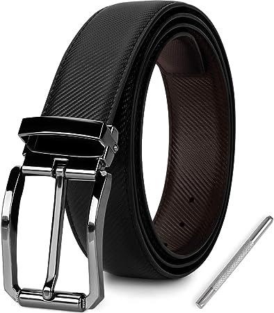 NEWHEY Cinturon Hombre Cuero Cinturones Piel Jeans Hombre Negro Hebilla Cinturon Reversible Hombre 3cm Ancho 135cm con Caja de Regalo.