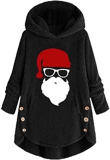 Womens Fluzzy Fleece Hooded Santa Claus Printed Sweatshirt Plush Warm Sweater Winter Outwear Plus Size Pullover