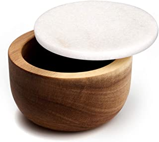 jalz jalz Large Wood Salt Box Spice Seasonings Keeper Solid Natural Acacia Base White Marble Lid Elegant Design Decorative Boxes Big Capacity